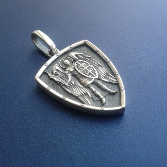 Saint st michael archangel cross shield prayer medal sterling aloadofball Image collections