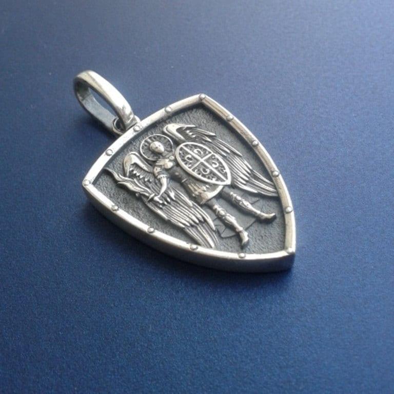 Saint st michael archangel cross shield prayer medal sterling description sterling silver pendant stmichael archangel aloadofball Gallery