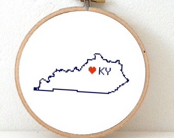 KENTUCKY Map Cross Stitch Pattern. Kentucky art pattern. Kentucky ornament pattern with Frankfort. USA decor. Wedding gift.