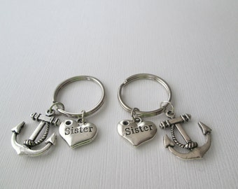 2 Sister and Silver Anchor, Best Friends Keychains