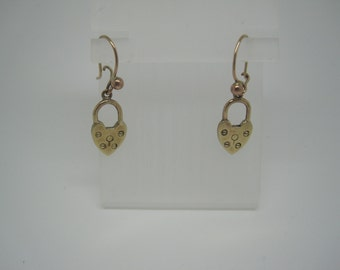 Antique Victorian gold heart padlock earrings