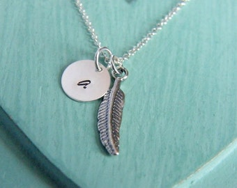 Personalized Feather Necklace, Feather Necklace, Tiny Silver Feather Necklace, Handstamped Necklace, Monogram Necklace, Bridesmaid Necklace