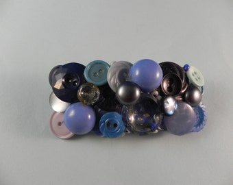 Handcrafted  Barrette  Shades of Blue Vintage Butttons