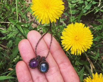 Mini amethyst and labradorite combo necklace!