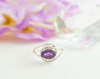 Oval Amethyst Ring - Purple Gemstone Ring - Amethyst Birthstone Ring - Dark Amethyst Ring - Lavender Ring - Purple Crystal Jewelry R2060