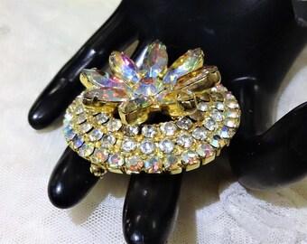 Gorgeous Vintage AB Rhinestone Floral Tiered Brooch