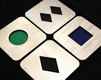 Ski and Snowboard Slope Coaster Set of 4, Circle, Square, Diamond, Double Diamond