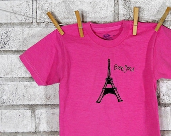 Eiffel Tower Toddler Tshirt in Hot Pink, Cotton Crewneck Youth Clothing, Bonjour French Language Graphic Tee, World Traveler, Paris Vacation