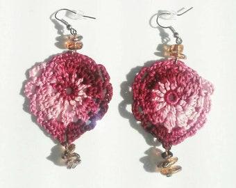 Burgundy and pink crochet earrings