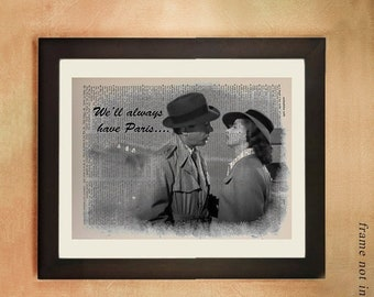 SALE--ship June 25-- Casablanca Movie Dictionary Art Print, Humphrey Bogart Ingrid Bergman Paris Black White Upcycled Wall Art da347