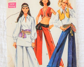 "1960s Simplicity 8210 Sewing Pattern Bust 36"" Hips 38""; Hip Hugger Bell Bottom Pants; Blouses and Bolero"
