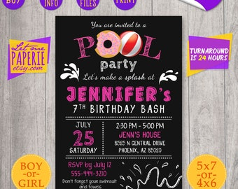 Pool Party Invitation, Pool Party Invite, Pool birthday Invitation, Pool birthday Invite, Chalkboard girl pool invitation 5th 6th 7th 9th