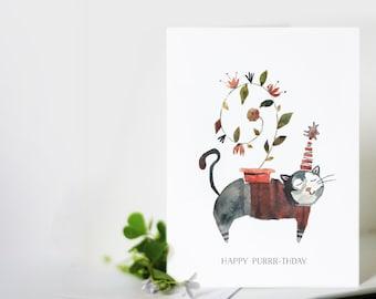 Cat Birthday Card: Happy Purrr-thday.