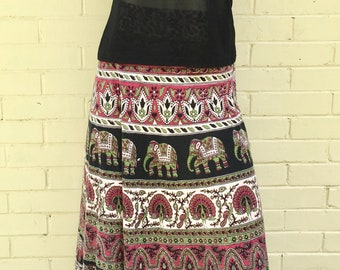Long, Wrap-around Skirt with Elephant & Floral Design