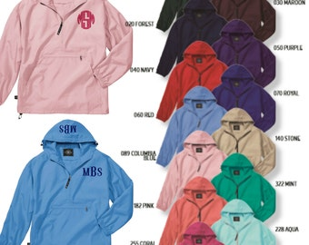 Charles River Pullover, Pullover with Monogram, Monogram Pullover, Rain Jacket Monogram, Monogram Rain Coat, Graduation Gift, Pack n go