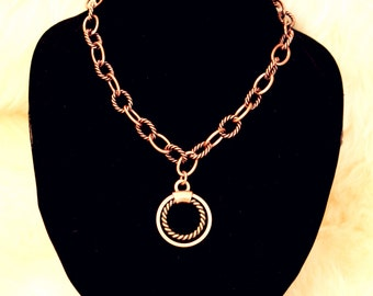 Circle Pedant Chain Necklace in Bronze