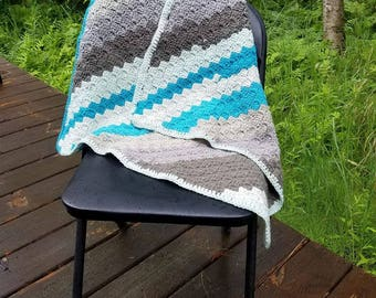 Blue/Gray Scale Baby Blanket