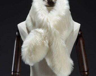 Faux Fur Scarf, White Faux Fur Scarf, Faux Fur Scarves, Neck Warmer