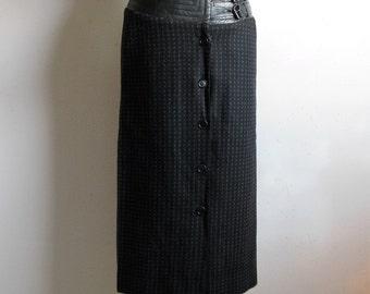 Vintage 1980s Designer Skirt Wayne Clark Black Leather Wool Hipster Pencil Skirt 8