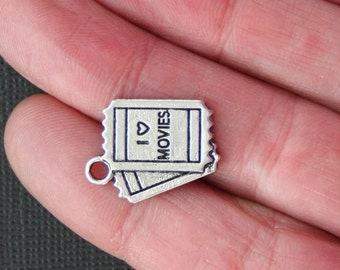 2 Movie Ticket Charms Antique  Silver Tone - SC1247