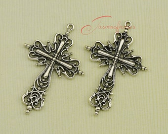 5PCS--64x43mm ,Flower Cross Charms, Antique Silver tone Cross Charm pendant, DIY supplies,Jewelry Making JAS6484DS
