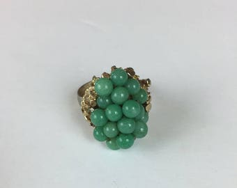Green Glass Bead Adjustable Cluster Ring