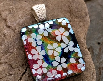 SALE Silver Blossoms Dichroic Glass Pendant  - Studio Clearance