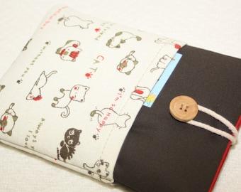 Brown bag with cats + with two pockets- Kindle Voyage Cover, eReader Cover/Ereader bag -ebook reader for e-reader -ebook,Kobo Aura edition 2