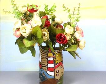Small vase, Ceramic vase, Colorful vase, Ceramic vassal, Flower vase, Rustic home decor, Israeli Art, Anniversary gift, 50th anniversary