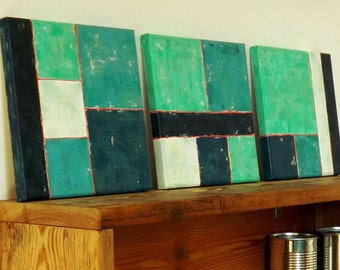 "3 abstract geometric turquoise paintings - Acrylic paint on stretched 8"" x 8"" canvas"