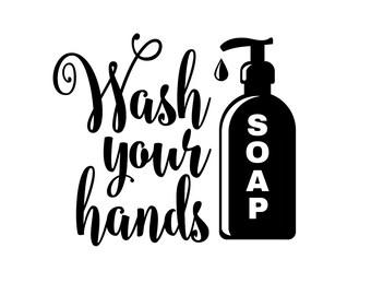 Bathroom Decal Wash Your Hands Vinyl Lettering for Walls Door Mirror Kids Bathroom Decal Wash Your Hands Sticker Gym Office Ladies Mens Room
