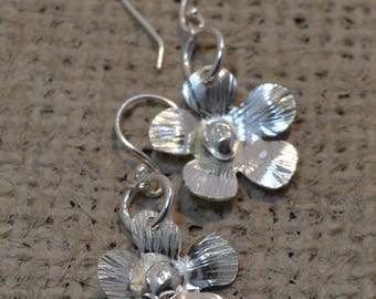 STERLING SILVER FLOWER Earrings with fish hook ear wires, Women's gift ideas, gifts for her, birthday gifts, handmade, unique, minimalist