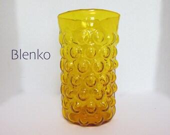 Blenko Mid Century Vintage Vase Husted Gold Vase Art Glass Bubble Wrap Harvest Gold C197
