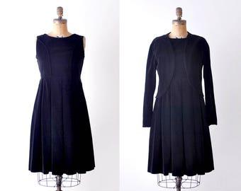 1950's velvet dress. black. 50's pleated dress. m. matching jacket. vintage dress.
