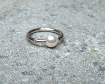 White Swarovski Pearl Cartilage Hoop Earring Captive Bead Ring Nose Ring Surgical Steel 16 gauge