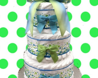 3 Layer Festival Blue -  Baby Shower Diaper Cake Gift Set