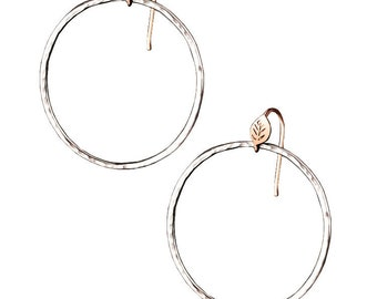 Forest Lake Hoop Earrings, Leaf and Textured hoop earrings, 14K Rose Gold and Silver Hoops