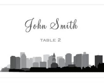 Boston Skyline Place Cards, set of 25 (FULLY CUSTOMIZABLE)
