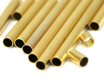 8 pcs  3 x 80 mm ( 2,6 mm hole) gold plated brass square tube finding charm 1333G-80