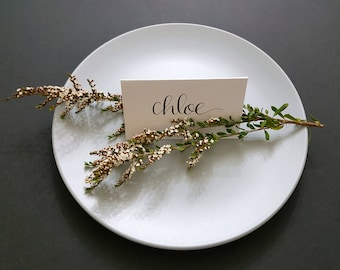White Wedding Place Cards, Modern Calligraphy using black or gold ink, guest name cards, escort cards