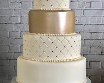 "Four Tier Quilted Fondant Wedding Cake, Fake Wedding Cake, Faux Wedding Cake, Faux Cake ""The Luna"""
