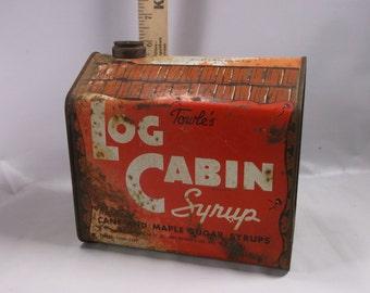 Rare 58 oz. 5 lb.Original Towle's Log Cabin Syrup Tin.epsteam
