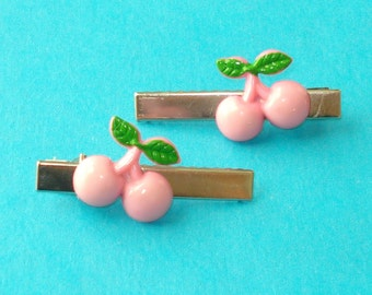 LAST ONE! Cherries Poppin' Pink Hair Clips - Set of 2