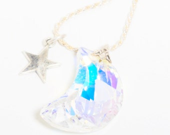 Sterling Silver Necklace with faceted Swarovski Moon Pendant