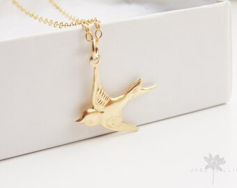 Small swallow bird charm pendant 14k gold filled chain necklace