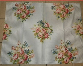 Vintage Barkcloth Fabric Roses Cottage Chic