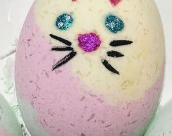 Organic Bath Bomb ~ Easter Bunny Bath Bomb ~ Pink, Yellow, Green Bath Bomb ~ Colorful Bath Fizzy ~ Bunny Bath Fizzer ~ Gift for Child ~ Vega