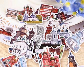 34pcs Dream Castle Scrapbook Sticker,Cut Out Planner Stickers, Korean Stationery,Laptop Sticker,Phone Sticker, Castle,Kawaii