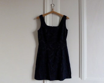 Dress vintage Navy Blue - upholstery fabric - made in France - thrift - fripe - retro - garment