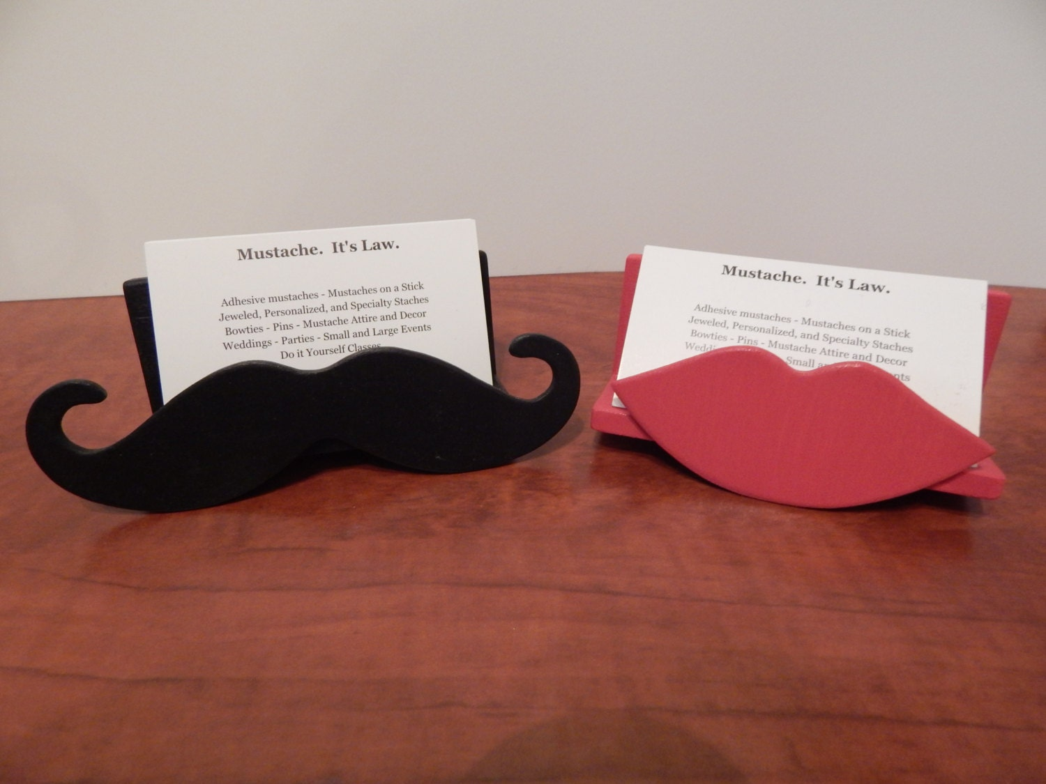 Moustache and Lips Business Card Holder Set Mustache Business